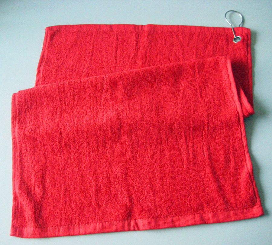 100% Cotton Golf Towel in Red Color with Hook as Yt-1313