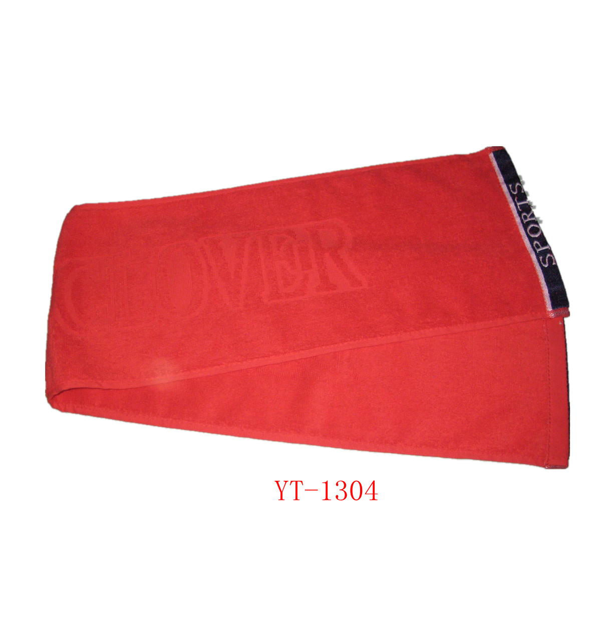 100% Cotton Terry Sports Towel, Jacquard Logo, Red Colors YT-1304