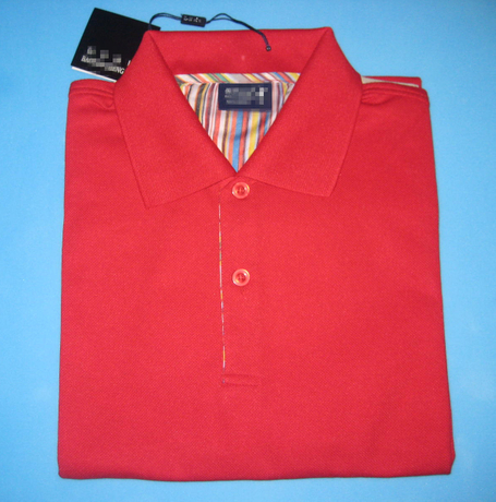 CVC Material Polo Shirt, Short Sleeves in Red Color as YT-2802